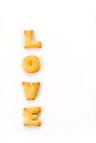 Mots d'amour par un biscuit de b c Image libre de droits