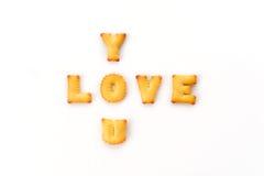Mots d'amour par un biscuit de b c Images libres de droits