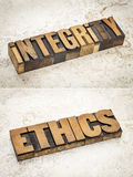 Mots d'intégrité et d'éthique Images stock