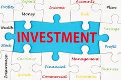 Mots d'investissement Photo stock