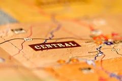 Mots de carte de zone centrale sur la carte Images libres de droits