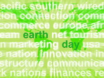 Mots de jour de terre montrant le souci environnemental et la conservation Photo stock