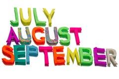 Mots de pâte à modeler (juillet, auguste, septembre) Image libre de droits