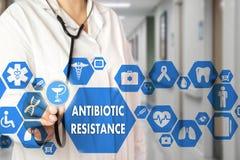 Mots de RÉSISTANCE de médecin et d'ANTIBIOTIQUE dans le netwo médical photo libre de droits