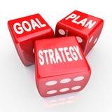 Mots de stratégie de but de plan sur trois matrices rouges illustration de vecteur