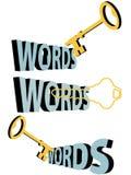 mots de symbole de mots-clés de trou de la serrure de clé de l'or 3d Image stock