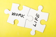 Mots de travail et de vie Images stock