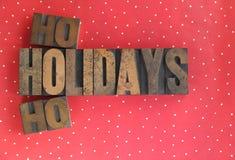 Mots de vacances ho ho sur des points de polka Photographie stock