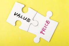 Mots de valeur et de prix Photographie stock libre de droits