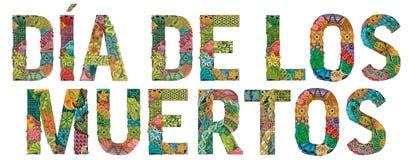 Mots DIA DE LOS MUERTOS Jour des morts dans l'Espagnol Objet décoratif de zentangle de vecteur illustration libre de droits