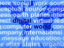 Mots du monde de Digital sur la carte montrant l'Internet global ou dans le monde entier illustration libre de droits