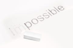 Mots impossibles et possibles, concept de la fabrication changeant Photos stock