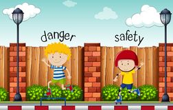 Mots opposés pour le danger et la sécurité illustration stock
