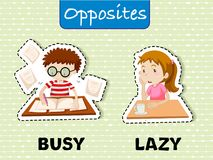Mots opposés pour occupé et paresseux illustration libre de droits