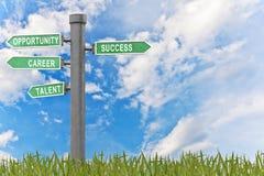 Mots relatifs de concept de réussite dans le signe Photographie stock libre de droits