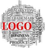 Mots relatifs de logo en nuage d'étiquette Photographie stock libre de droits