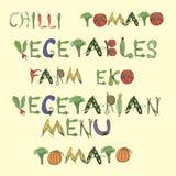 mots se composant des légumes dans le style de cru sur un fond beige illustration de vecteur