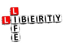 mots sociaux de cube en 3D Liberty Life Crossword Photographie stock libre de droits
