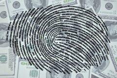 Mots sous forme d'empreinte digitale sur le fond des dollars illustration libre de droits