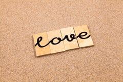 Mots sur l'amour de sable Image libre de droits