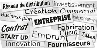 Mots symbolisant la création d'entreprises et la finançant pour atteindre ses buts illustration libre de droits