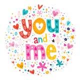 Mots vous et moi typographie marquant avec des lettres le texte décoratif Photographie stock