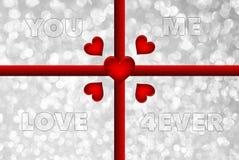 Mots vous, je, amour, 4ever sur le fond de bokeh Photo stock