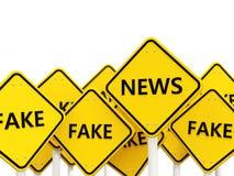 Motsatt nyheternavägmärke att fejka tecken Royaltyfria Bilder
