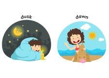 Motsatt skymning och gryning vektor illustrationer