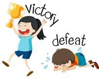 Motsatt wordcard för seger och nederlag stock illustrationer