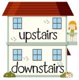 Motsatt wordcard för uppför trappan och bottenvåning stock illustrationer
