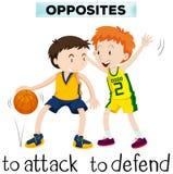 Motsatta ord för attack och försvarar stock illustrationer