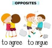 Motsatta ord för instämmer och argumenterar stock illustrationer
