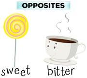 Motsatta ord för sötsak och bitterhet stock illustrationer