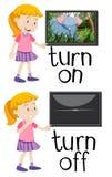 Motsatta ord för vänder på och vänder av vektor illustrationer