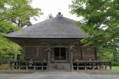 Motsu寺庙Jogyo大厅在Hiraizumi 免版税库存图片