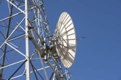 Motta maträtten på telekommunikationtorn Arkivfoto