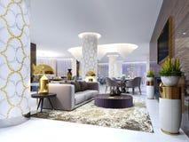 Mottagande och vardagsrumområde i hotellet, lyxig soffa med fåtölj två med sidotabeller med guld- lampor och kaffetabellen vektor illustrationer