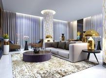 Mottagande och vardagsrumområde i hotellet, lyxig soffa med fåtölj två med sidotabeller med guld- lampor och kaffetabellen stock illustrationer