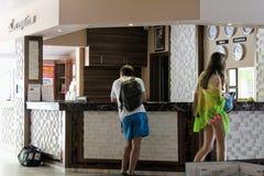 Mottagande på det Kleopatra strandhotellet Alanya, Turkiet Arkivbilder