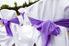 Mottagandebröllopstolar Fotografering för Bildbyråer