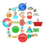 Mottaglighetsymboler uppsättning, tecknad filmstil royaltyfri illustrationer