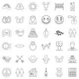 Mottaglighetsymbolsuppsättning, översiktsstil stock illustrationer
