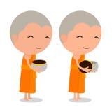 Mottar den thailändska munken för tecknade filmen mat Arkivfoton