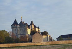 Motte castle at sunrise, Usseau ,  France. In the XVth century this castle was owned by Geoffrey Boucicaut brother of the famous marshal of France Stock Photos
