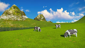 Mottled cows graze on alpine pasture. Few mottled dairy cows graze on a verdant alpine pasture at sunny day. Mountains and lake on the background. Realistic 3D royalty free illustration
