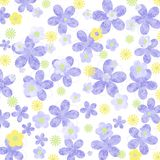 Mottled pastel mauve and yellow daisy background. Mottled pastel mauve and yellow daisy pattern on white background Stock Photos