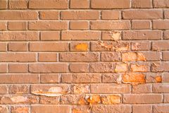 A mottled red brick wall. Simple royalty free stock photo
