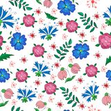 Mottled seamless pattern of small flowers and leaves stock illustration
