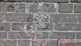 Mottled, worn and weathered brick wall with swiss cheese like holes royalty free stock photography